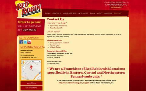 Screenshot of Contact Page redrobinpa.com - Contact Red Robin | Lehigh Valley Restaurant Group, Inc. | Red Robin - captured Nov. 2, 2014