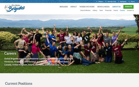 Screenshot of Jobs Page globalbrigades.org - Careers – Global Brigades - captured Sept. 28, 2018