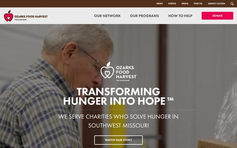 Screenshot of Home Page ozarksfoodharvest.org - Ozarks Food Harvest - captured June 17, 2015