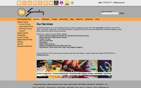Screenshot of Services Page sunpup.com - Sundog Productions Custom order locally made clothing  | Sundog: Custom t-shirt designer, screen printer and manufacturer. Fairfax VA. - captured Dec. 2, 2016