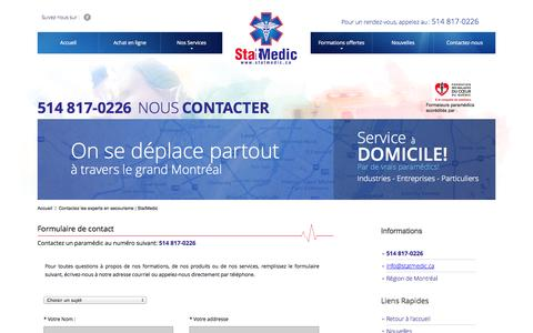 Screenshot of Contact Page statmedic.ca - Contactez les experts en secourisme | StatMedic - captured Sept. 30, 2014