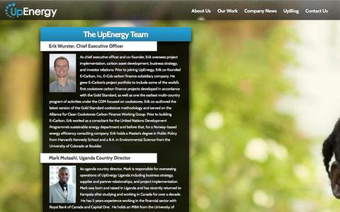 Screenshot of Team Page upenergygroup.com - The UpEnergy Team - UpEnergy - captured Sept. 17, 2014