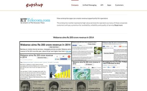 Screenshot of Press Page gupshup.me - GupShup   –  News - captured Sept. 16, 2014