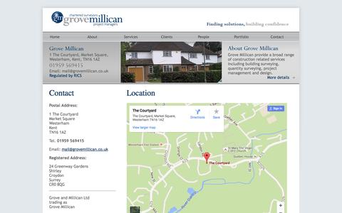 Screenshot of Contact Page grovemillican.co.uk - Contact Grove Millican - Chartered Surveyors, Building surveying, Quantity surveying, Project management, Building design, Building Surveyors, Quantity Surveyors, Architectural Design - captured July 18, 2016
