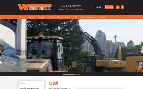 Screenshot of About Page whissell.ca - About - Whissell Contracting Ltd. - captured Nov. 5, 2017