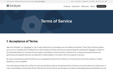 Screenshot of Terms Page sonatype.com - Terms of Service – Sonatype - captured Sept. 20, 2017