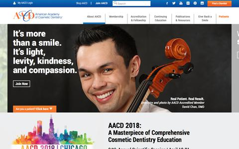 Screenshot of Home Page aacd.com - American Academy of Cosmetic Dentistry   Dental CE Courses - captured Jan. 20, 2018