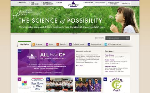 Screenshot of Home Page vrtx.com - vrtx.com - captured Oct. 8, 2016
