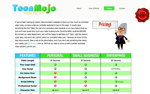 Screenshot of Pricing Page toonmojo.com - Animated Video Cost for Small Businesses - ToonMojo - captured Oct. 7, 2014