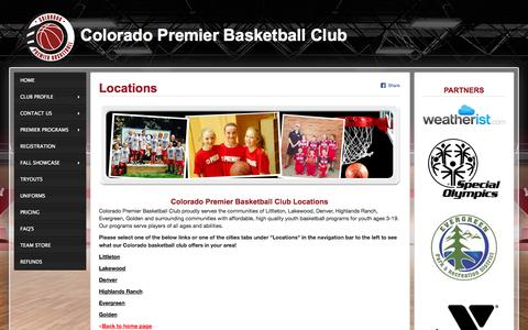 Screenshot of Locations Page coloradopremierbasketball.com - Colorado Basketball Club Locations | Colorado Premier Basketball Club - captured Oct. 1, 2014