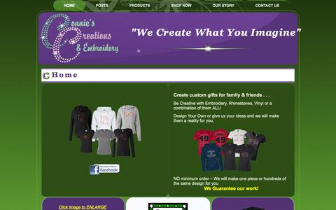 Screenshot of Home Page conniescreation.com - We offer custom embroidery and rhinestone bling apparelConnies Creations & Embroidery - captured Oct. 2, 2014
