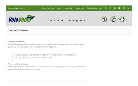 Screenshot of Terms Page veloshine.com - Terms And Conditions | VeloShine Bike Wipes - captured Dec. 3, 2016