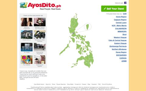 Screenshot of Home Page ayosdito.ph - AyosDito.ph - Real People, Real Deals - captured Sept. 18, 2014