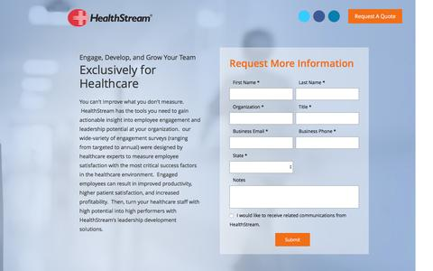 Screenshot of Landing Page healthstream.com - Managing Change with HealthStream - captured Sept. 25, 2016
