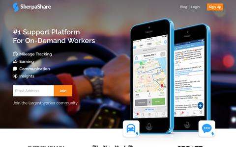 Screenshot of Home Page sherpashare.com - SherpaShare: The #1 Support Platform For Independent Workers - captured April 12, 2016