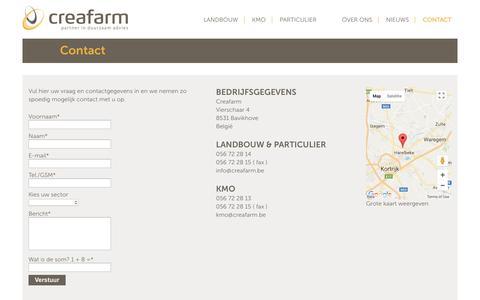 Screenshot of Contact Page creafarm.be - Contact - Creafarm - captured Sept. 8, 2017