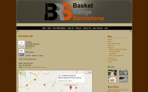 Screenshot of Contact Page basketrangesandstone.com.au - Basket Range Sandstone>Contact Us » Basket Range Sandstone> - captured Sept. 30, 2014