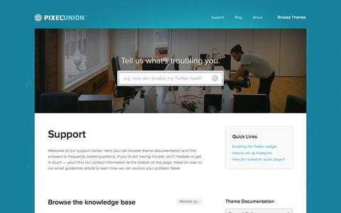 Screenshot of Support Page pixelunion.net - Tumblr, Shopify and Wordpress Themes Support | Pixel Union - captured Nov. 2, 2014