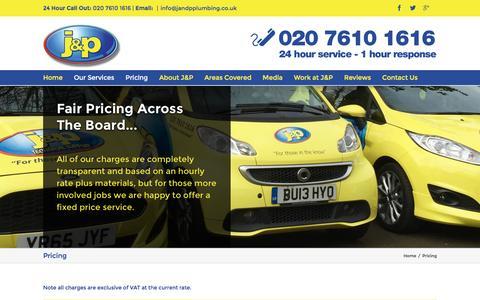 Screenshot of Pricing Page jandpplumbing.co.uk - Pricing - J&P Plumbing and Heating - captured Nov. 17, 2016