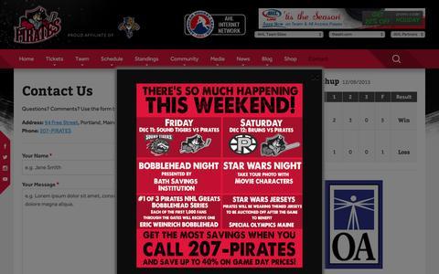 Screenshot of Contact Page portlandpirates.com - Contact Us Ľ Portland Pirates - captured Dec. 9, 2015
