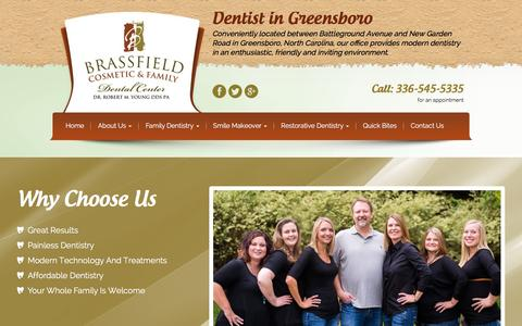 Screenshot of Home Page brassfielddental.com - Greensboro Dentist | Robert M Young, DDS | 336-545-5335 - captured Feb. 8, 2016