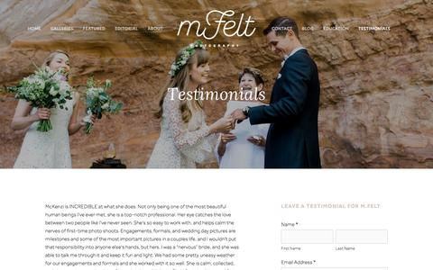 Screenshot of Testimonials Page mfeltphotography.com - Testimonials — M. Felt Photography - captured Oct. 14, 2017