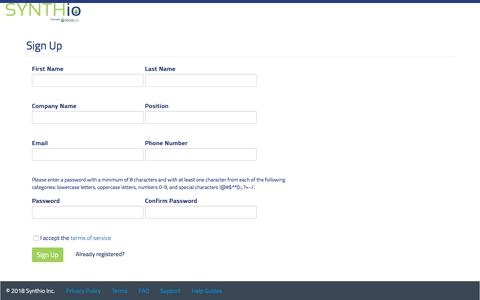 Screenshot of Signup Page Trial Page synthio.com - Synthio - captured June 2, 2018
