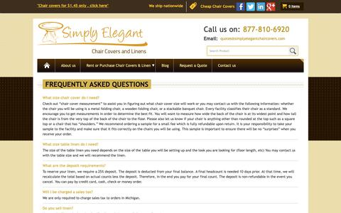 Screenshot of FAQ Page simplyelegantchaircovers.com - Feel Free To Ask Questions About Our Product - captured Nov. 7, 2018