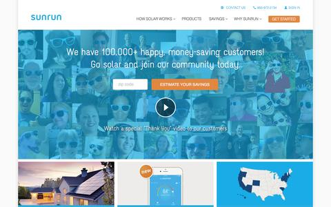 Screenshot of Home Page sunrun.com - Sunrun: Leading Home Solar Energy Company - captured March 31, 2016