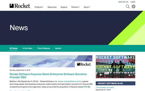 Screenshot of Press Page rocketsoftware.com - News | Rocket Software - captured Oct. 5, 2019