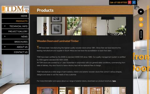 Screenshot of Products Page tdm.co.za - Products | Wooden Doors | TDM Doors - captured Aug. 12, 2015