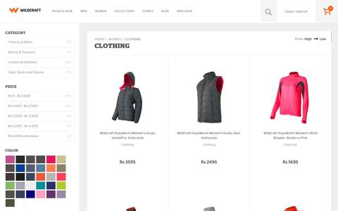 Screenshot of wildcraft.in - Wildcraft Women's Clothing - Buy Womens Outdoor Clothing Online - captured March 19, 2016