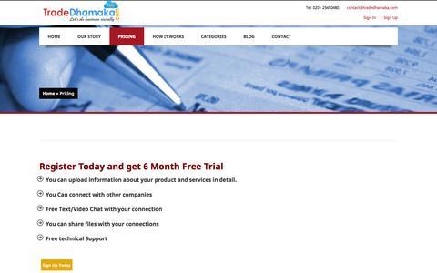 Screenshot of Pricing Page tradedhamaka.com - Pricing - captured Oct. 7, 2014