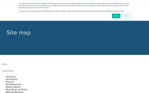 Screenshot of Site Map Page rapidmicrobio.com - Site Map - Rapid Micro Biosystems - Microbial QC Testing - captured Oct. 18, 2018