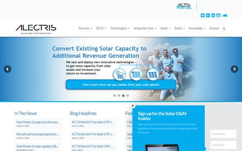 Screenshot of Home Page alectris.com - Alectris | Solar Asset Care Innovation. - captured July 29, 2018