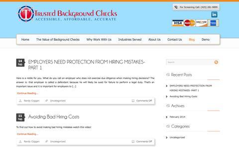Screenshot of Blog trustedbackgroundchecks.com - Blog | Trusted Background Checks - captured Oct. 9, 2014