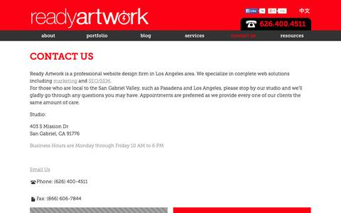 Screenshot of Contact Page readyartwork.com - Contact Us | Website Design Los Angeles | Ready Artwork - captured Sept. 24, 2014