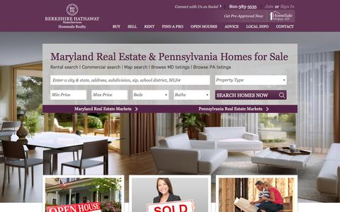 Screenshot of Home Page homesale.com - Maryland Real Estate & Pennsylvania Homes for Sale | Berkshire Hathaway Homesale Realty - captured Jan. 21, 2016