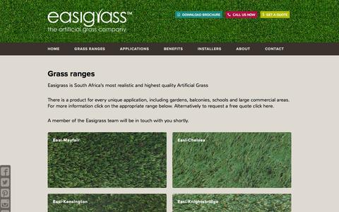 Screenshot of Products Page easigrass.co.za - Grass Ranges - Easigrass, Southern Africa - captured Jan. 24, 2016
