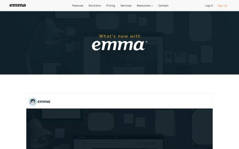 Screenshot of Trial Page myemma.com - What's New With Emma? - captured Nov. 27, 2019