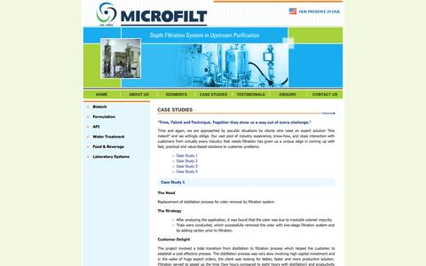 Screenshot of Case Studies Page microfiltindia.com - Filtration system-practical & value-based solutions to customer problems - captured Oct. 3, 2014