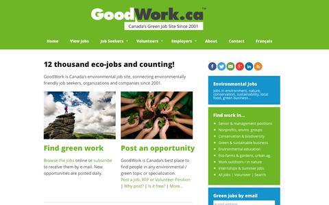 Screenshot of Home Page goodwork.ca - Environmental Jobs, Green Jobs, Conservation Jobs   GoodWork.ca - captured Sept. 23, 2014