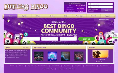 Screenshot of Home Page butlersbingo.com - Play online bingo, new player welcome bonus awaits! - captured Nov. 29, 2018
