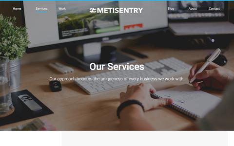 Screenshot of Services Page metisentry.com - Services | Metisentry - captured Feb. 15, 2018