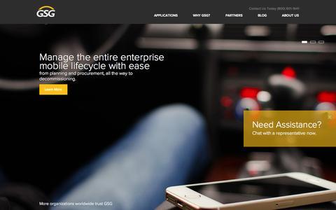 Screenshot of Home Page gsgtelco.com - GSG | The telecom expense and lifecycle management platform - captured Sept. 27, 2014