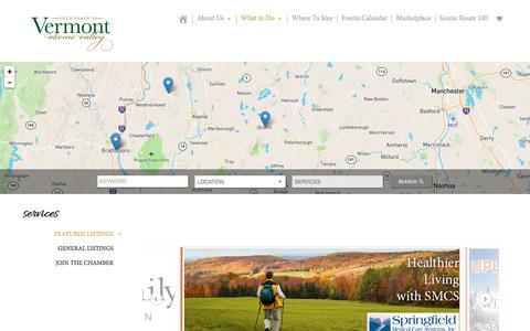 Screenshot of Services Page yourplaceinvermont.com - Okemo Valley Chamber, Vermont » Services - captured Oct. 25, 2017