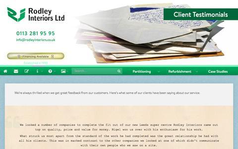 Screenshot of Testimonials Page rodleyinteriors.co.uk - Client Testimonials – Rodley Interiors Ltd, Leeds - captured Dec. 9, 2016