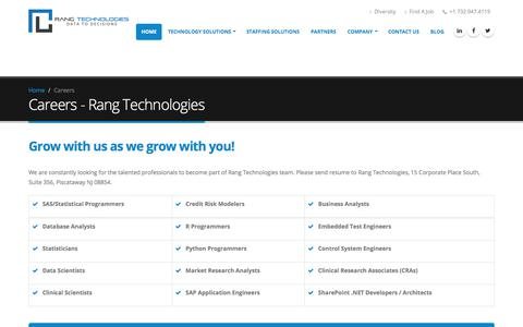 Screenshot of Jobs Page rangtech.com - Careers | Rang Technologies - captured Nov. 12, 2017