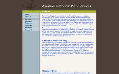 Screenshot of Services Page aviationinterviewprep.com - Aviation Interview Prep Services - Services - captured Oct. 4, 2014