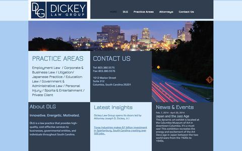 Screenshot of Home Page dlglawsc.com - Dickey Law Group, Joseph Dickey, Columbia, South Carolina - captured Oct. 5, 2014